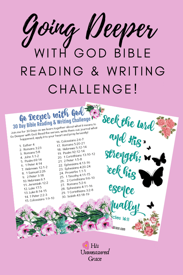 Going Deeper with God Bible Reading & Writing Challenge