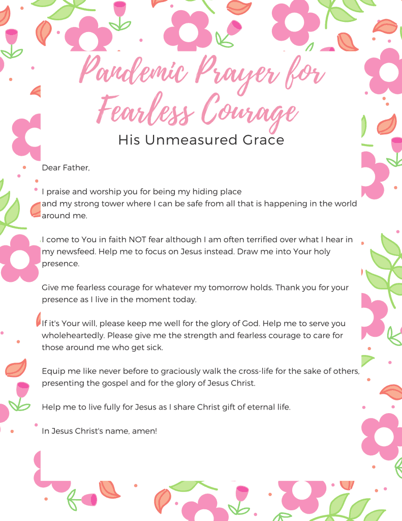 Pandemic Prayer for Fearless Courage Printable